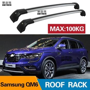 2 Pcs Atap Bar untuk Renault Samsung QM6 5 Dr SUV 17-Aluminium Alloy Side Bar Rel Salib Atap Rak Bagasi CUV SUV