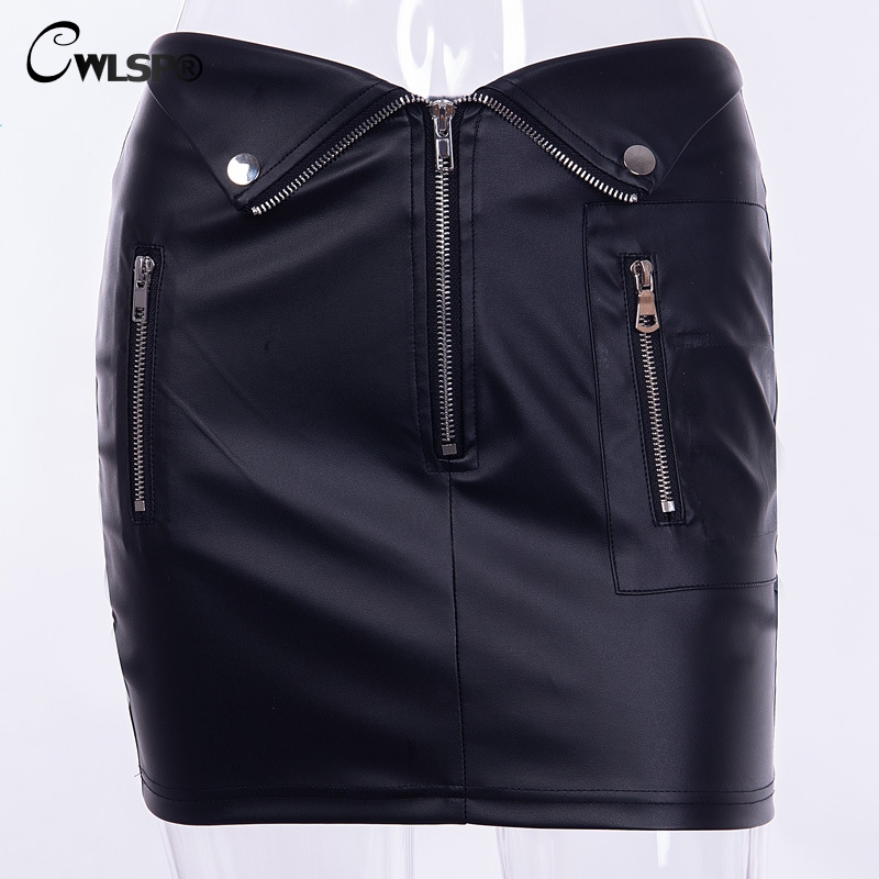 CWLSP Patchwork A Line Black PU Leather Women 39 s Skirt 2018 Fashion Goth Streetwear High Waist Mini Skirt moda mujer QL4283 in Skirts from Women 39 s Clothing