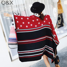 SC17 2018 Luxury Brand Women Cashmere Scarf Double Side Five-Pointed Star Pattern Shawls and Scarves Lady Winter Cape Poncho stylish five pointed star pattern small pompon pendant voile bib scarf for girls