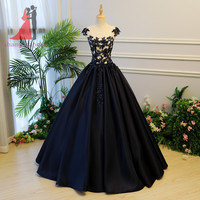 Navy Blue Ball Gown Quinceanera Dresses 2018 Satin Lace Appliques Long Prom Dress Sweet 16 Dresses