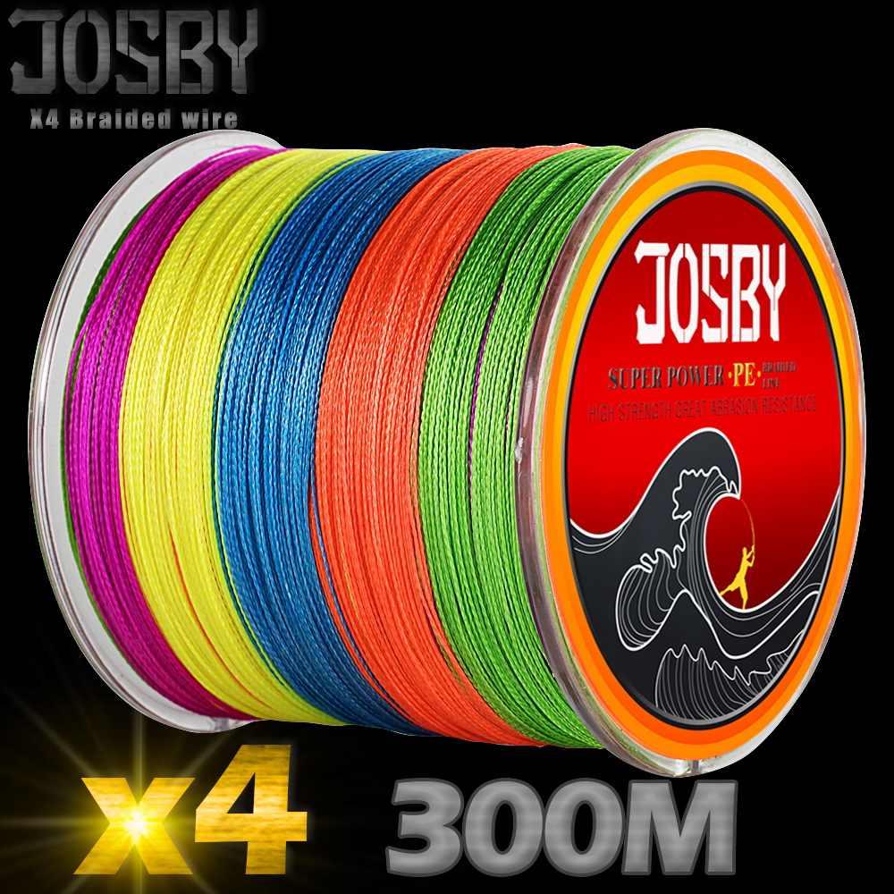 Josby 4 Helai 300M Perikanan Dikepang Memancing Baris Strong Multifilament 4X Dikepang Kawat 6 8 10 20 30 40 80 100 LB Memancing Ikan Mas