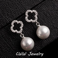 New Fashion 4 Leaf CZ Diamond Pave Big CC Brand Pearl Earrings Jewelry Accessories For Women (CZ211)