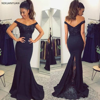 Black Mermaid Evening Dress 2019 Boat Neck Off The Shoulder Satin Long Party Dresses Cheap Wedding Guest Gown Robe De Soiree
