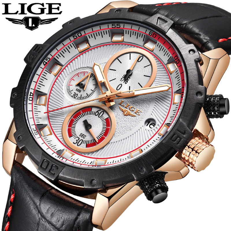 2018 LIGE Mens Watch Brand Trendy Sports Watches Luxury Big Dial Chronograph Watch Waterproof Fashion Casual Quartz Wristwatches цена 2017