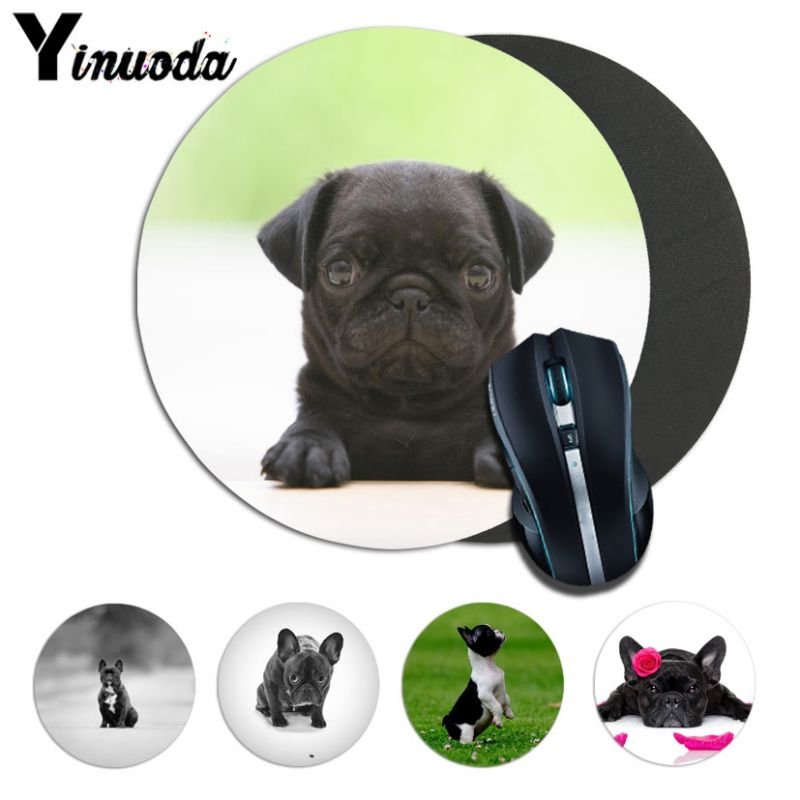 Yinuoda Cool french bulldog Computer Gaming round Mousemats Size for 20*20cm 22*22cm round mousepad Rubber Rectangle Mousemats