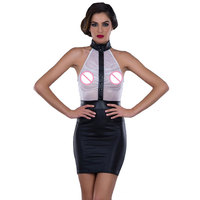 Sexy Women Mini Dress Sleeveless See Through Bodycon Dress Tight Transparent Faux Leather Party Dresses Clubwear