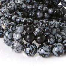 Perles en obsidienne, 2017 nouveauté, boules rondes naturelles, perles en pierre à flocons de neige, 4 6 8 10mm pour la fabrication de bijoux, Bracelet à bricoler soi-même