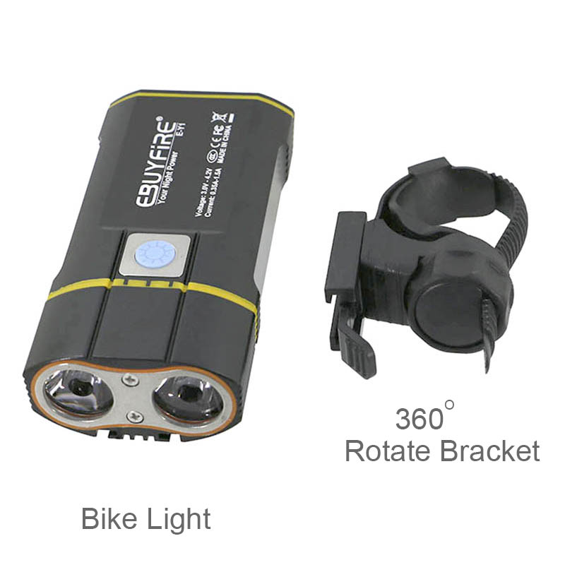 USB Bike Light 2x XML-L2 LED 6000LM Bicycle Lights With 6000mAh Rechargeable Battery Cycling Front Light