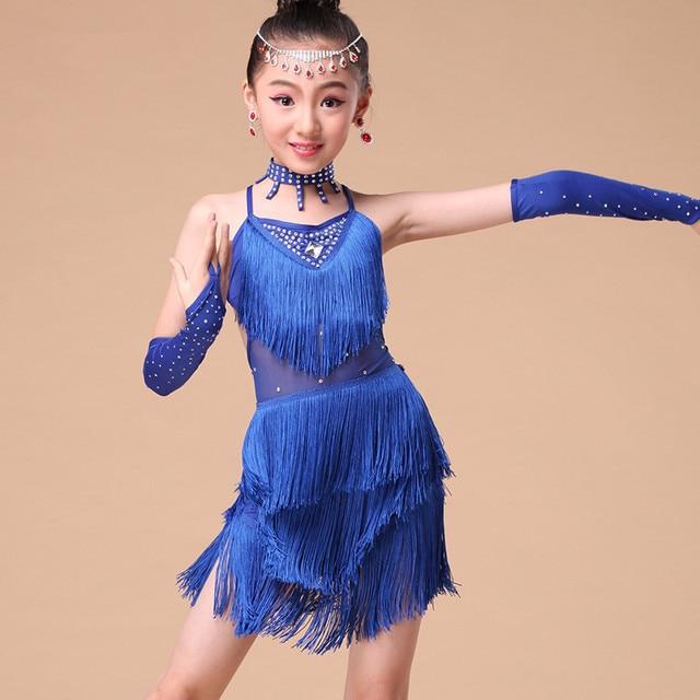 178a14095fa16 Girl Tassel Rhinestone Latin Dance Dress Salsa Ballroom Competition  Dancewear Children Tango Dresses Samba Costume for