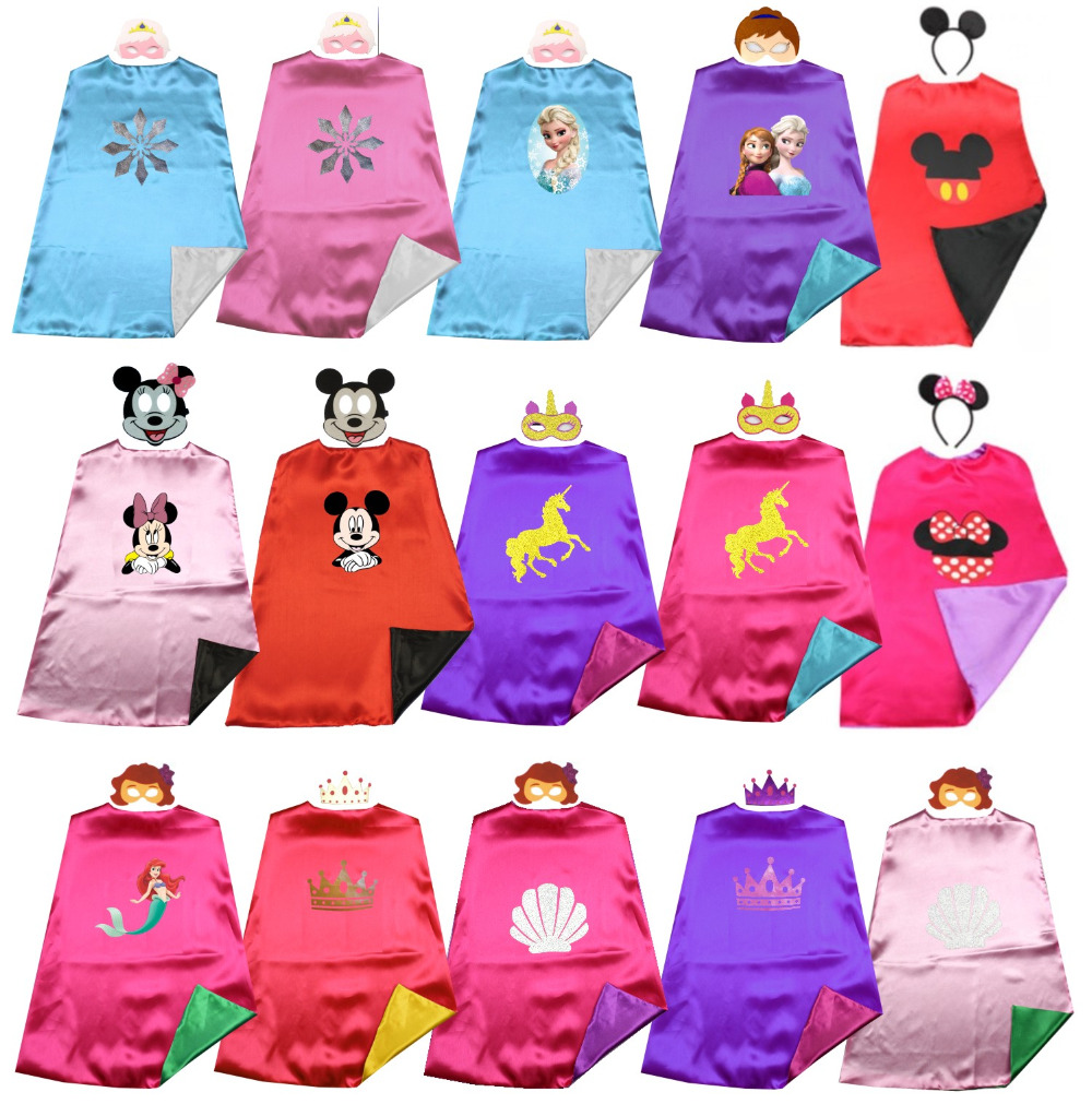 Satin 2layer Fairy Prince&princess Superhero Kids Cape+mask Halloween Costume Birthday Party Favors Dress Up Easy Costums