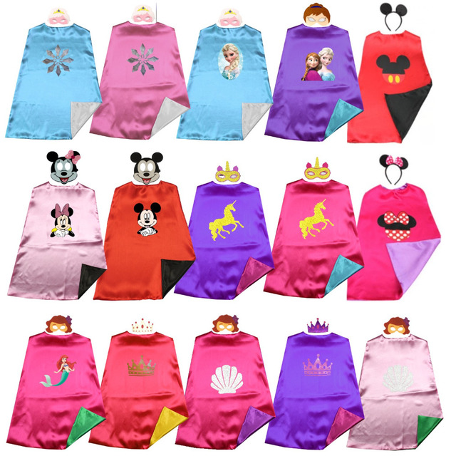 Satin 2layer Fairy prince&princess superhero kids cape+mask Halloween costume Birthday party favors Dress up Easy costums