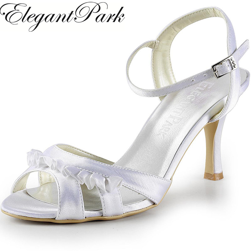 Woman sandals for bride White Open Toe Rhinestones Ankle Strap shoes  Satin Bride Bridesmaid Pumps Wedding Bridal Shoes EP2019