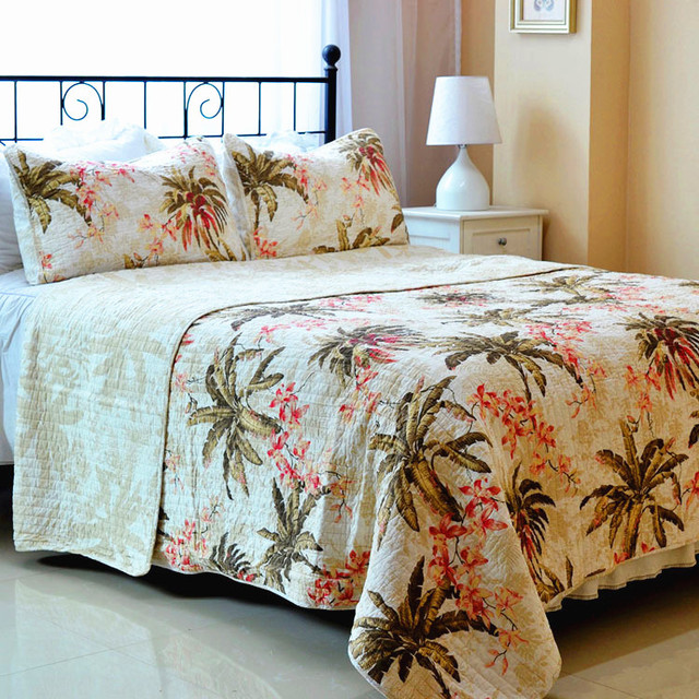 Beige Coconut Trees Quilt Bedding Bedspread 3 Pcs Quilted Set Coverlet