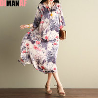 DIMANAF Women Dress Plus Size Vintage Summer Chinese Style Floral Print Female Fashion Elegant Show Thin