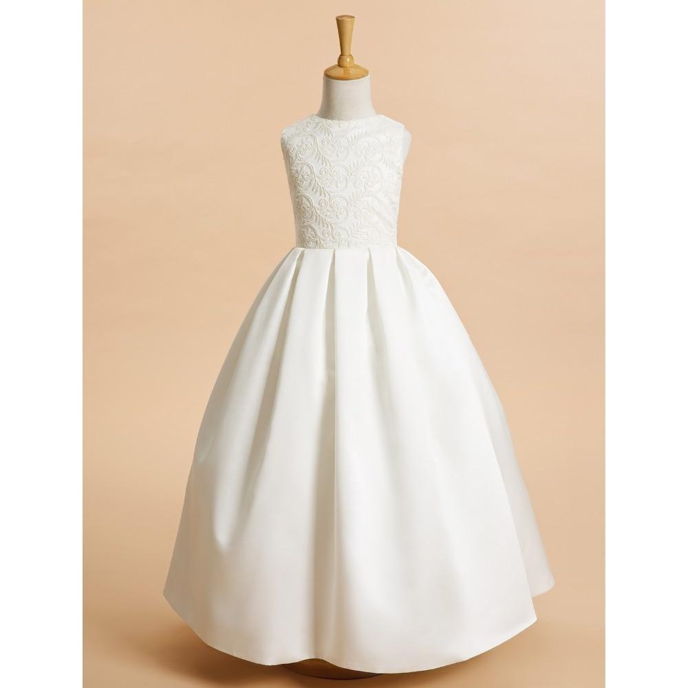 LAN TING BRIDE A-Line karoliuko ilgis Gėlių mergaitė puošmena - Suknelės vestuvėms