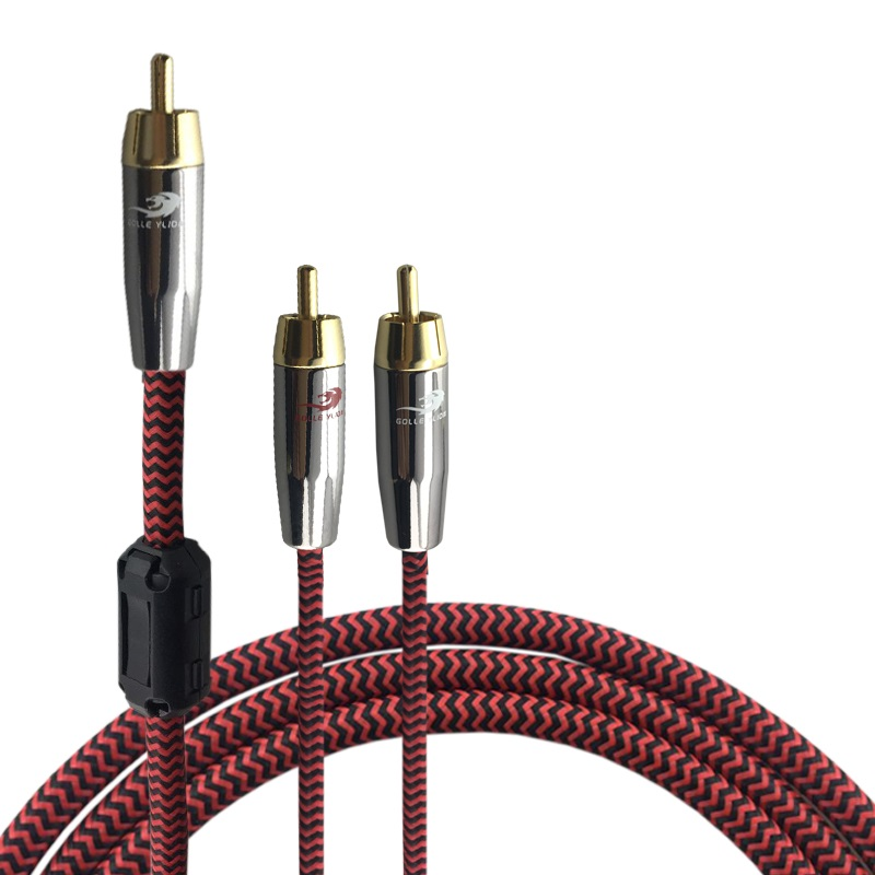 RCA to 2 RCA Male Jack Shielding Audio Cable For font b Amplifier b font Speaker