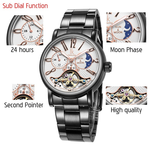 IK Moon Phase Stainless Steel Automatic Mechanical Watches Men 24 hours Luxury Hollow Skeleton Military Watch Relogio Masculino