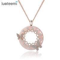 Teemi New Korea Style Elegant Big Round Pink Cream CZ Pendant With Mirco Double Butterfly Zircon