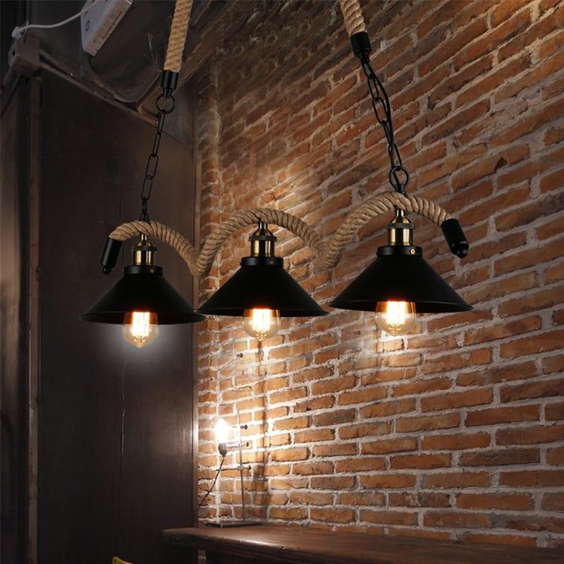 Ретро Промышленность персонализированные ручной конопли промышленной конопли LOFT ретро подвесные светильники ветер Бар Кафе Ресторан три