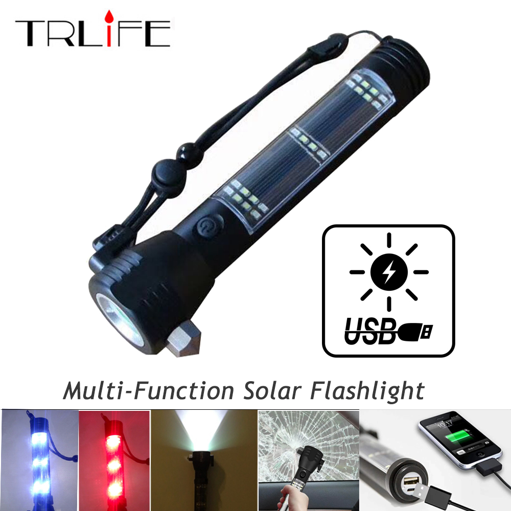 Recharging USB Solar LED Flashlight Emergency Light Safety Hammer Power Bank Outdoors Compass Survival Tool For Travel, Camping outdoor camping emergency light solar powered led flashlight safety hammer torch light with power bank magnet survival tool new