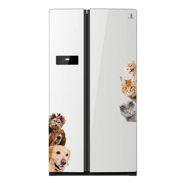 Dogs Cats 3D Wall Sticker Funny Door Window Wardrobe Fridge Decorations for Kids Room Home Decor Cartoon Animal Art Vinyl Decal