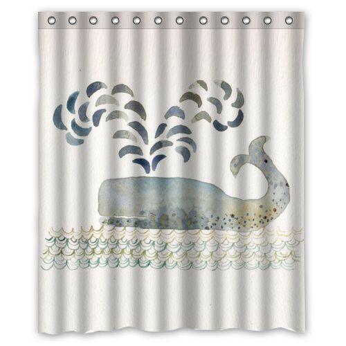 Blue Whale Custom Waterproof Shower Curtain 60