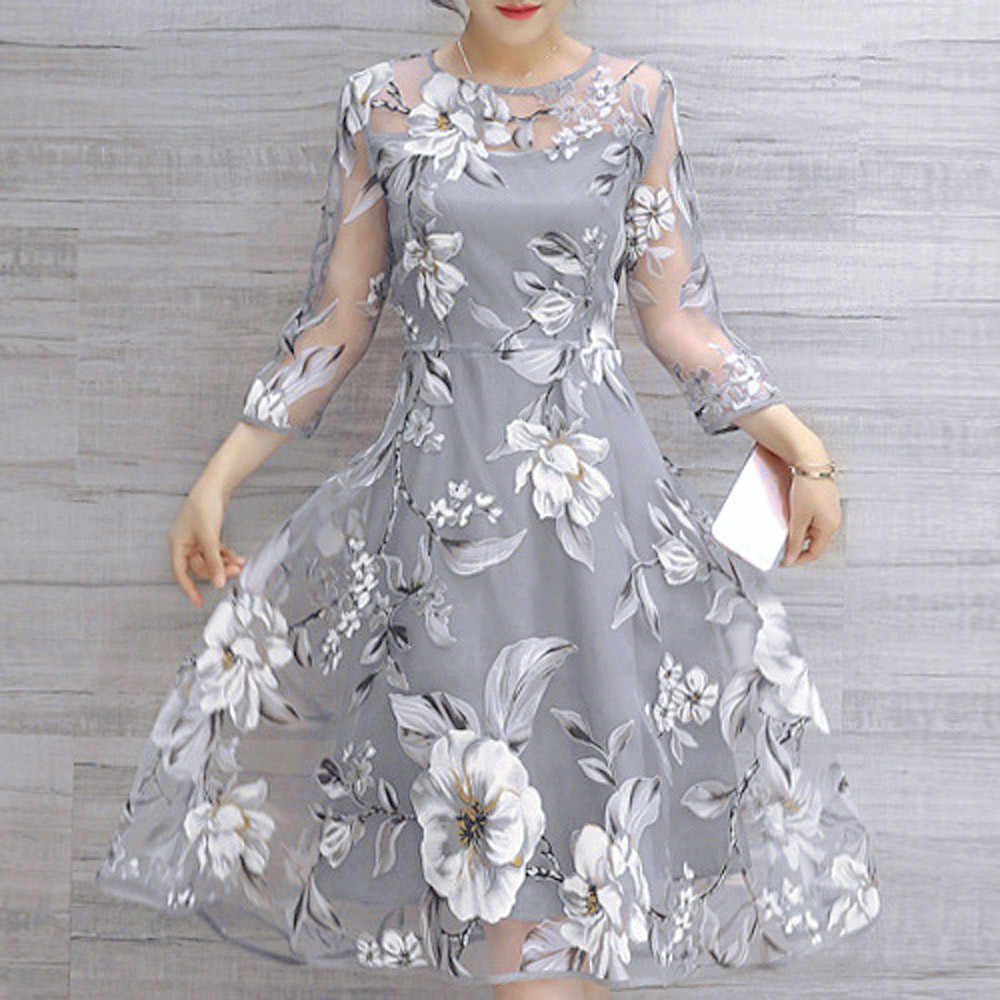 Dress Women's Summer Organza Floral Print Wedding Party Ball Prom Gown O-Neck Dress Vestido De Festa Party Night Woman Dresses