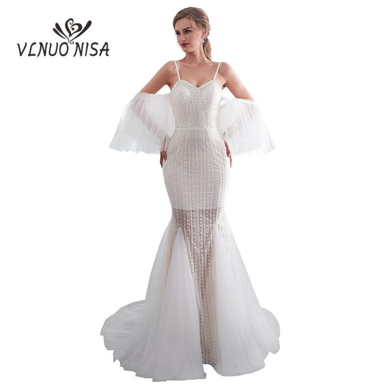 White Backless Lace Mermaid Wedding Dresses 2018 V Neck: VLNUO NISA Romantic Ivory White Lace Wedding Dress