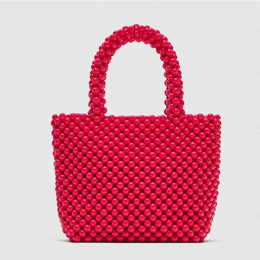 ... Luxury Brand Hand-woven Pearl bags DIY Solid Color Women Beaded Handbag  Elegant Evening Bag ...