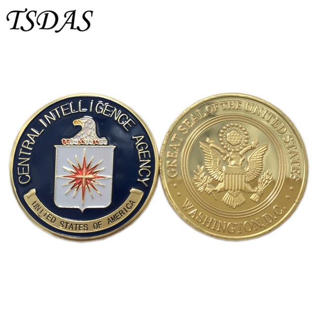 Us 252 30 Offus Central Intelligence Agency Coin 24k Gold Plated Coin Cia Challenge Coin 403mm Military Metal Coin For Collection In Non Currency