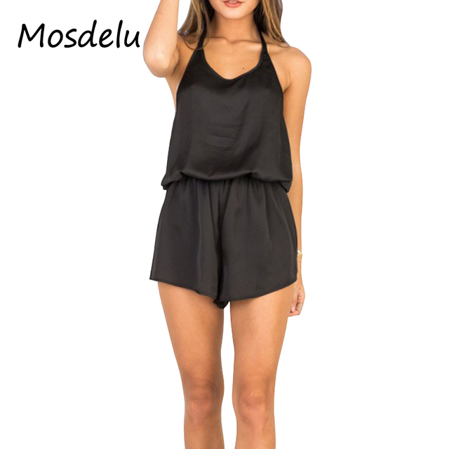 511a836cf57 Mosdelu Satin Silk backless summer beach playsuits open back sexy rompers  womens jumpsuit casual overalls for women one piece