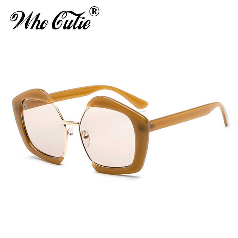 83a6071c88 WHO CUTIE 2018 Polygon Pentagon Sunglasses Brand Design Women Men Gothic Vintage  Retro Frame Pink Lens