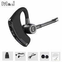 M J Wireless Bluetooth Headphone Handsfree Business Bluetooth Headset Earphone With Mic Voice Control For Sports