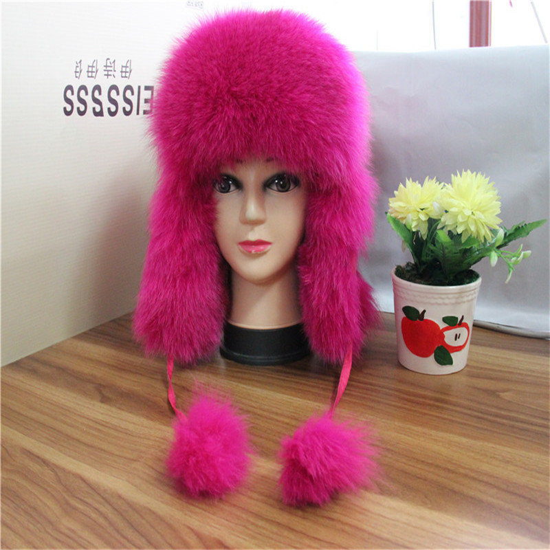 Russia Hot Sale Fox Fur Hat Winter Children Warm Fox Fur Hat With Ear Flaps Boy and Girls Lei Feng Solid Thick Fur Cap QMH052 natural fur beanie hat for women winter luxury fox fur top hat beanies thicken knitting lined female newest hats cap
