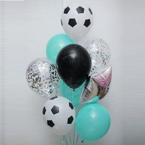 Image 2 - 13 sztuk/partia 18 calowy okrągły piłka nożna balony foliowe dziecko urodziny gym Party piłka nożna Helium Globos 10 cal biały czarny lateks...