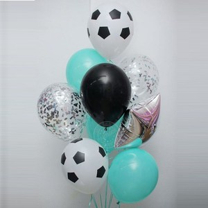 Image 2 - 13pcs/lot 18 inch Round Football Foil Balloons Baby Birthday gym Party Soccer Helium Globos 10inch White Black Latex Decoration