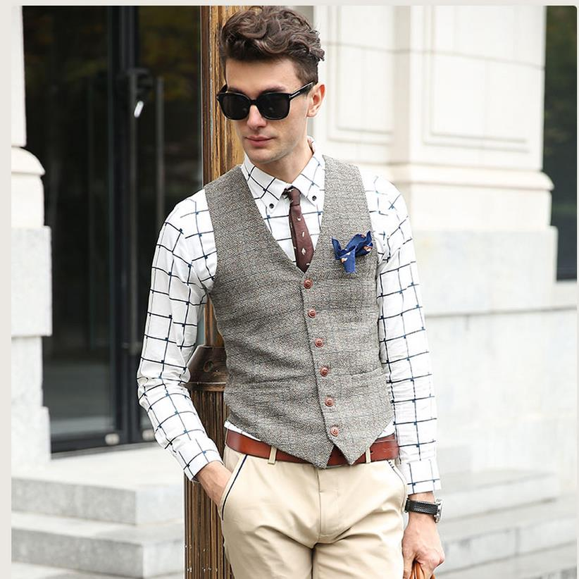 SHOWERSMILE Brand Suit Vest Men Jacket Sleeveless Beige Gray Brown Vintage Tweed Vest Fashion Spring Autumn