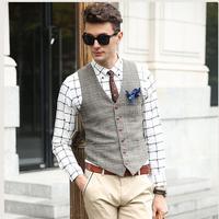 Suit Vest Men Beige Gray Brown Vintage Tweed British Style Casual Spring Autumn Plus Size XXXL