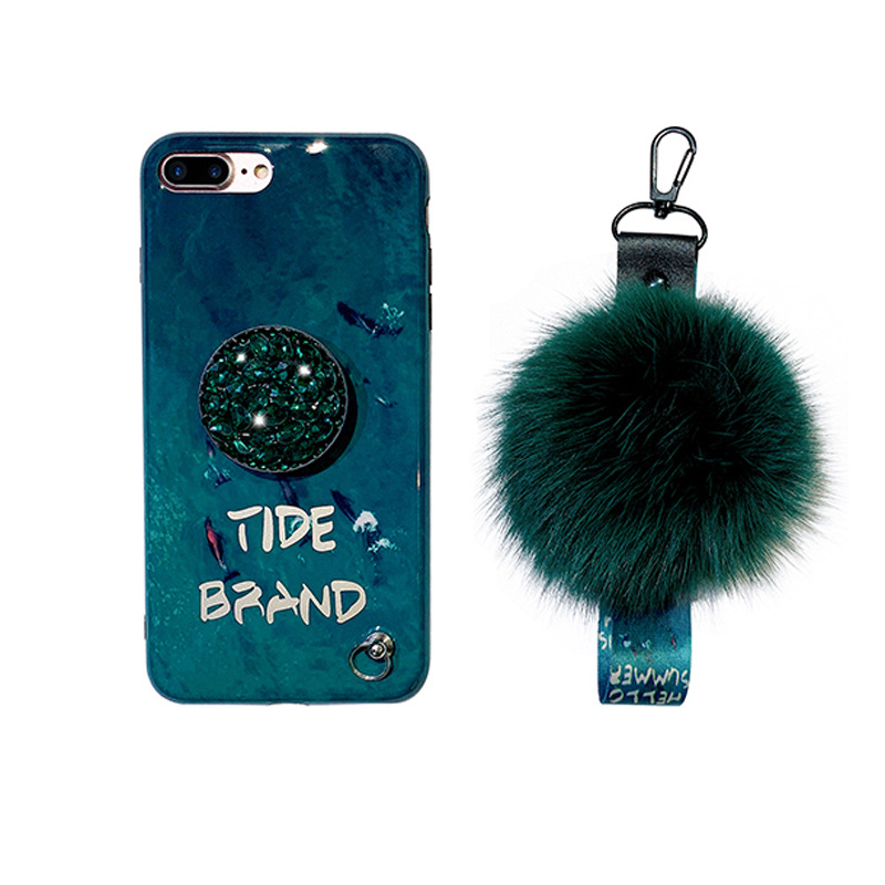 For IPhone X XS Max 6 7 8 Plus Emerald Hair Ball Water Drill Soft Girl Mobile Phone Case