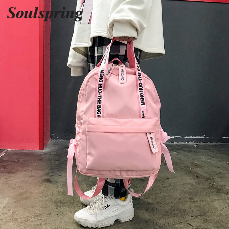 Fashion Backpack Women Preppy School Bags For Teenagers Backpack Female Nylon Travel Bags Girls Bowknot Backpack Mochilas