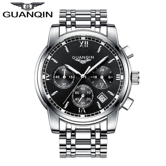 2016 homens Novos do Relógio GUANQIN Marca Duplo Borboleta Fivela Banda de Aço Inoxidável Relógio Multifuncional À Prova D' Água relógio de Pulso de Quartzo