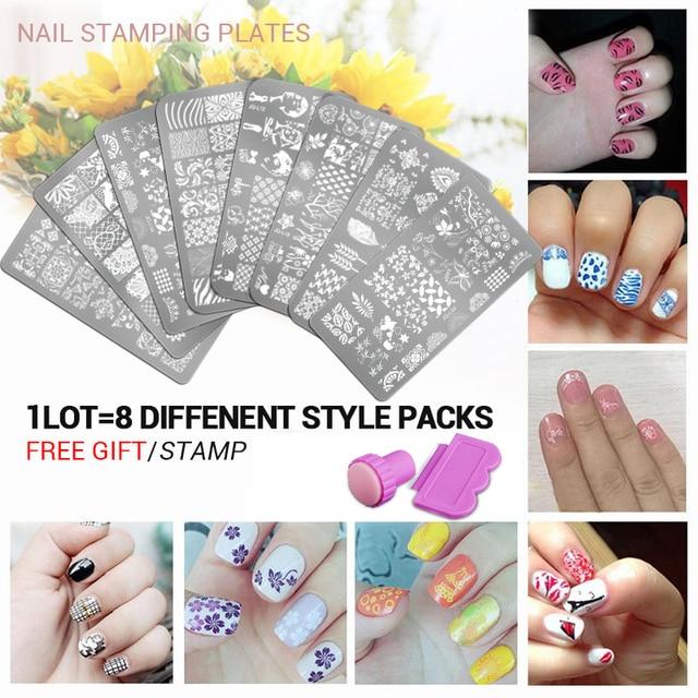 8Pcs/Lot Nail Art Beauty Image Nails Stamp Plates DIY Nail Art ...