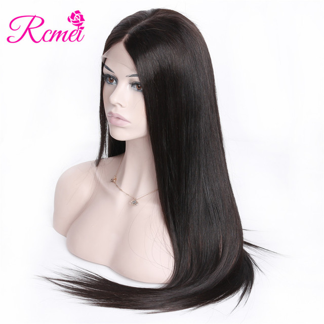 RCMEI Hair 360 Lace Frontal Wigs Malaysian Straight Hair Lace Wig 150% Density Remy Hair 10-24 Inch Wig Baby Hair For Black Wome