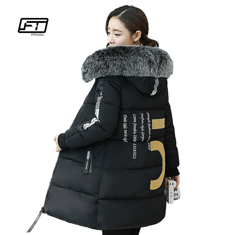 Fitaylor 2017 winter new loose thick cotton jacket coat Long jacket women Warm parka fashion outerwear woman coats winter Hooded pregnant women winter coats thick warm cotton jacket new fashion women coat knit patchwork long sleeve loose hooded jacket g2834