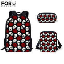 FORUDESIGNS Cool Skull Rose Floral Printed Satchel Children Backpack Bagpack School Women Backpacks for Boys Mochilas Mujer 2019