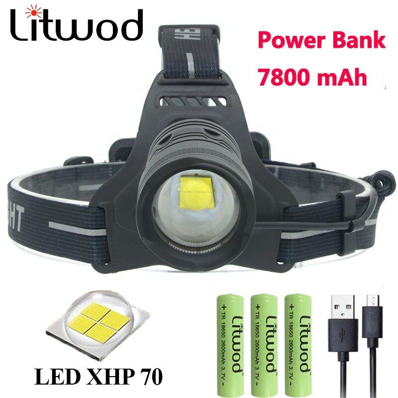 Litwod Z902808 32 w puce XHP70 haute puissance Led projecteur 42920lum puissant Phare tête de lampe-torche zoom head light
