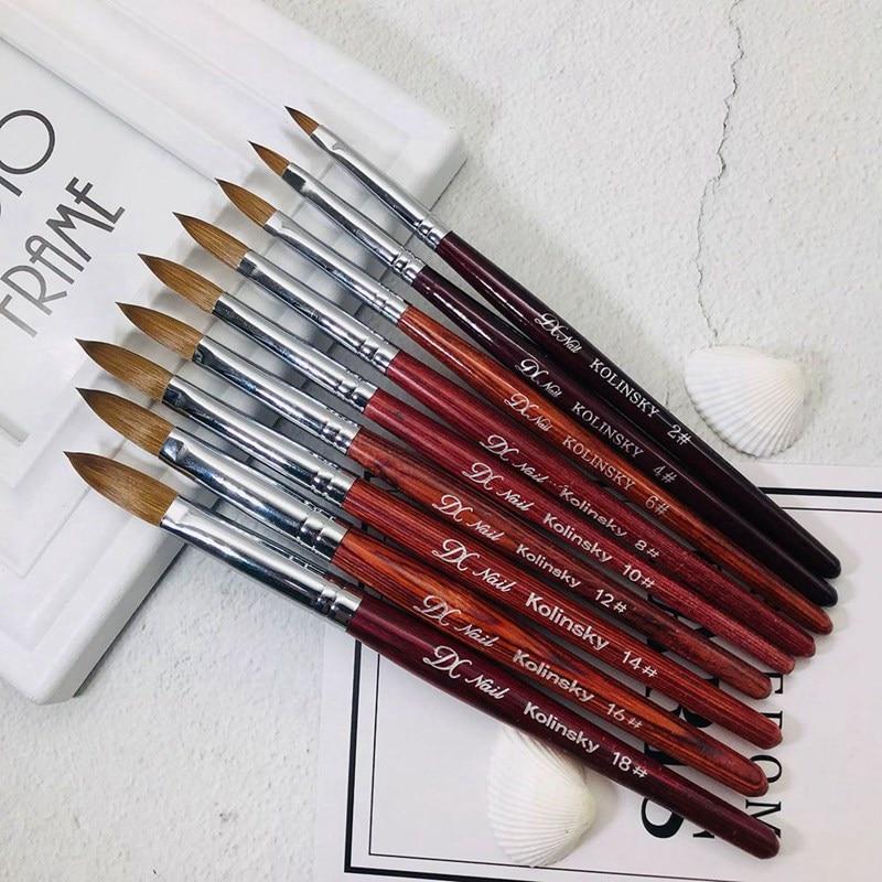 Pro. 80% Kolinsky Sable Acrylic Brush Crimped UV Poly Gel Brush Gel Builder Manicure Brush Flat Round Nail Brush