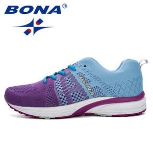 Image 5 - Bona novo tênis de corrida das mulheres tênis de corrida respirável malha rendas up treinamento ao ar livre sapatos de fitness esporte feminino
