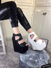 2016 spring and summer sexy fish head slope with open-toed leather 17cm thick crust muffin sandals women