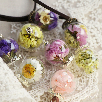 Necklace with Real Dried Flowers in a Glass Ball